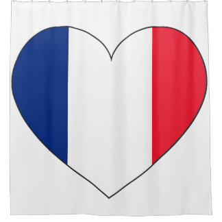 France Flag Heart Shower Curtain