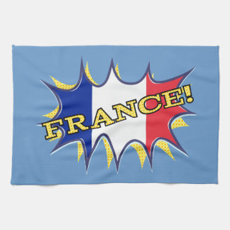 France Flag Kapow Comic Style Star Tea Towel