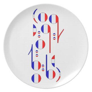 France Flag Musical Notes Plates