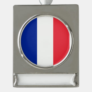 France Flag Silver Plated Banner Ornament