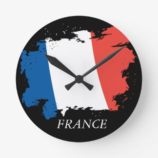 France flag wall clock