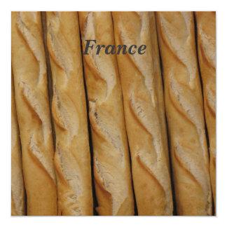 """France - French Bread 5.25"""" Square Invitation Card"""