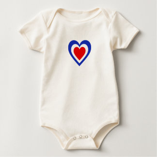 France French Tricolore Flag-Inspired Hearts Baby Bodysuit
