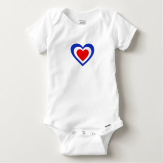France/French Tricolore flag-inspired Hearts Baby Onesie