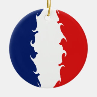 France Gnarly Flag Round Ceramic Decoration