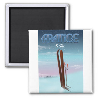France 'ice' ski sports vacation poster magnet