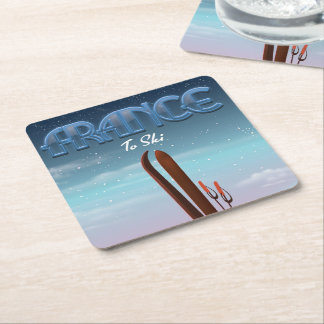 France 'ice' ski sports vacation poster square paper coaster