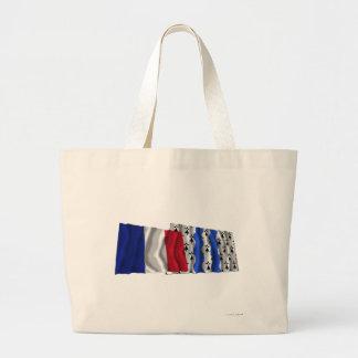 France & Ille-et-Vilaine waving flags Canvas Bag