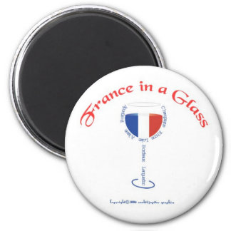 France in a Glass 6 Cm Round Magnet