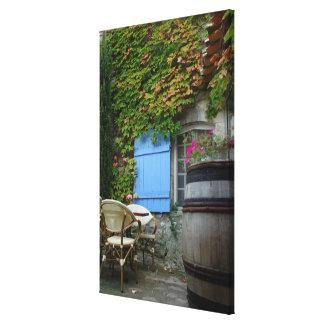 France, Les Baux de Provence, café patio Canvas Print