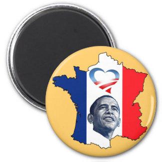 France Loves Obama 6 Cm Round Magnet