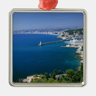 France, Nice, aerial view of the port Silver-Colored Square Decoration