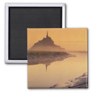 FRANCE, Normandy Mont St. Michel. Morning Light Square Magnet