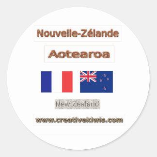 France, Nouvelle-Zélande Classic Round Sticker