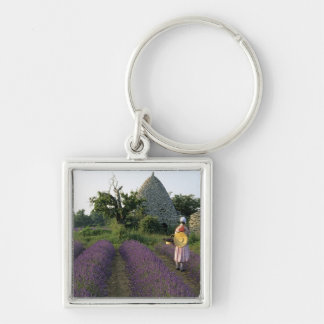 France, PACA, Vaucluse, Woman in a lavender Silver-Colored Square Key Ring