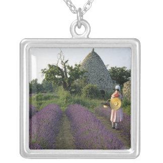 France, PACA, Vaucluse, Woman in a lavender Square Pendant Necklace