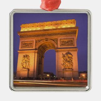 France, Paris, Arc de Triomphe at dusk. Silver-Colored Square Decoration