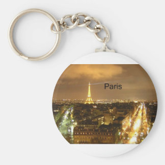 France Paris at night Eiffel Tower (by St.K) Basic Round Button Key Ring