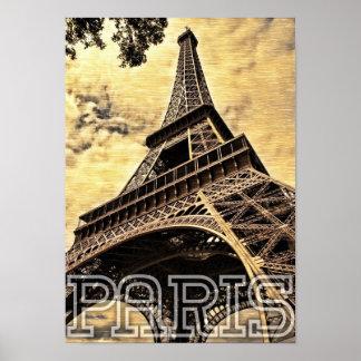 France Paris City Eiffel Tower Landmark Poster
