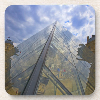 France, Paris. Clouds reflect off the Louvre Beverage Coasters