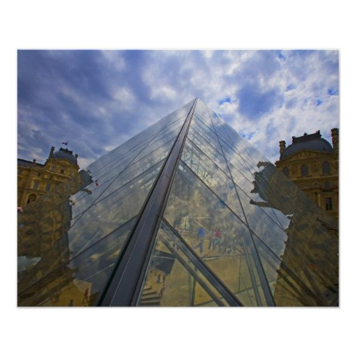 France, Paris. Clouds reflect off the Louvre Posters