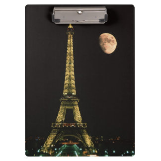 France, Paris. Eiffel Tower at night with Clipboard
