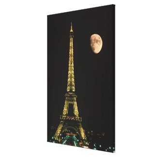 France, Paris. Eiffel Tower at night with Gallery Wrapped Canvas