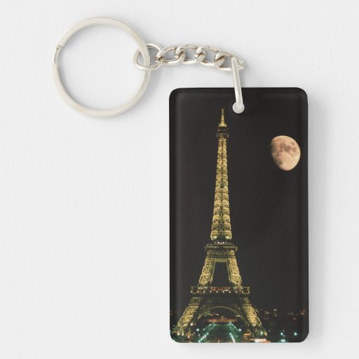 France, Paris. Eiffel Tower at night with Rectangle Acrylic Keychains