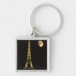 France, Paris. Eiffel Tower at night with Key Chains
