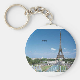 France Paris Eiffel Tower (by St.K) Basic Round Button Key Ring
