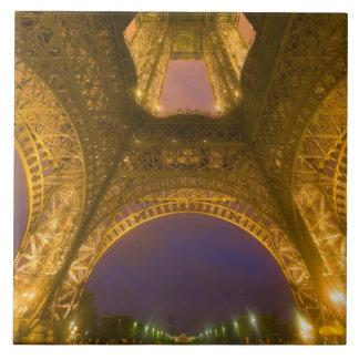 France, Paris. Eiffel Tower illuminated at 2 Large Square Tile
