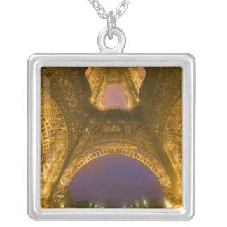 France, Paris. Eiffel Tower illuminated at 2 Square Pendant Necklace