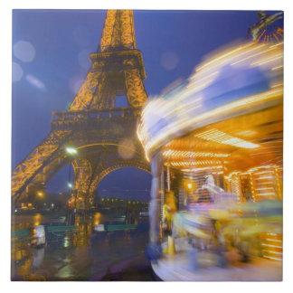 France Paris Eiffel Tower in twilight fog and Tiles