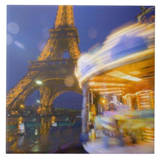 France, Paris. Eiffel Tower in twilight fog and Tiles