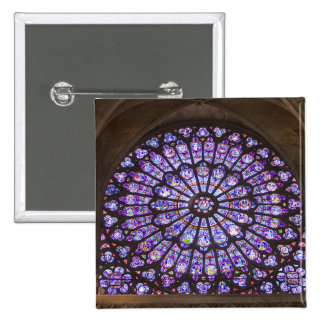 France, Paris. Interior detail of stained glass 15 Cm Square Badge