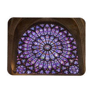 France, Paris. Interior detail of stained glass Rectangular Photo Magnet