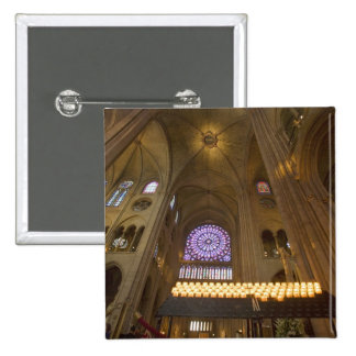 France, Paris. Interior of Notre Dame Cathedral. 15 Cm Square Badge