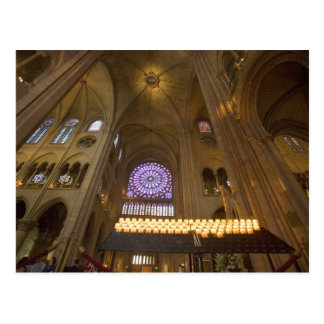 France, Paris. Interior of Notre Dame Cathedral. Postcard