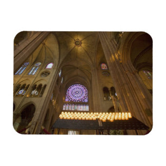 France, Paris. Interior of Notre Dame Cathedral. Rectangular Photo Magnet