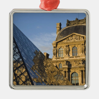 France, Paris, Louvre Museum and the Pyramid, Silver-Colored Square Decoration