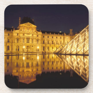 France, Paris, Louvre museum by night. Drink Coaster
