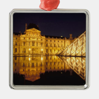 France, Paris, Louvre museum by night. Silver-Colored Square Decoration