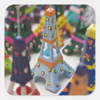 France, Paris, Miniature Eiffel Towers Square Sticker