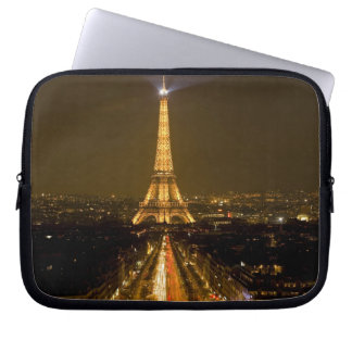 France, Paris. Nighttime view of Eiffel Tower Laptop Sleeve