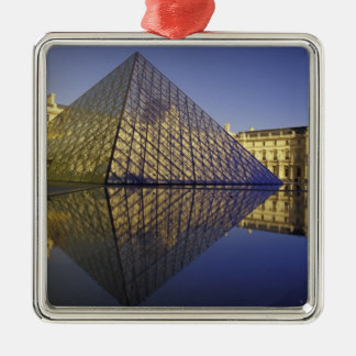 FRANCE, Paris Reflection, Pyramid. The Louvre Silver-Colored Square Decoration