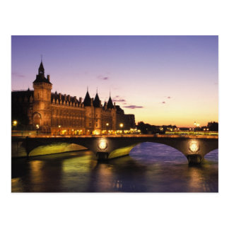 France, Paris, River Seine and Conciergerie at Postcard
