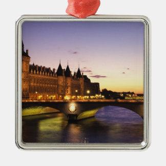 France, Paris, River Seine and Conciergerie at Silver-Colored Square Decoration