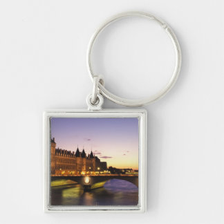 France, Paris, River Seine and Conciergerie at Silver-Colored Square Key Ring