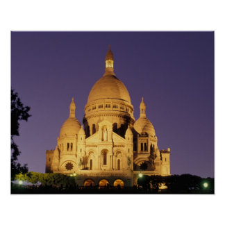 France, Paris, Sacré-Coeur at dusk. Poster