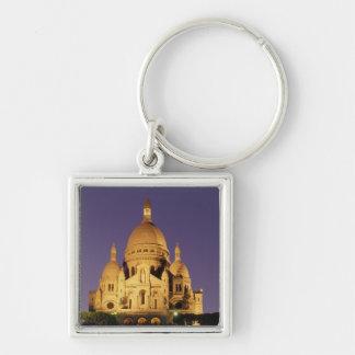 France, Paris, Sacré-Coeur at dusk. Silver-Colored Square Key Ring
